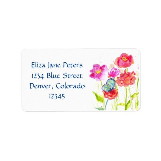 Blue Butterfly Red Poppy Watercolor Flowers