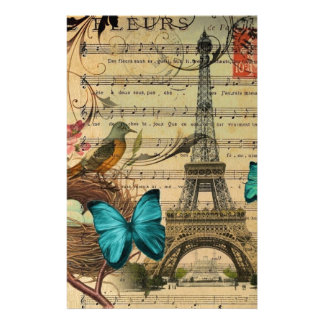Blue butterfly Robin bird nest Paris Eiffel Tower Personalized Stationery