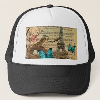 Blue butterfly Robin bird nest Paris Eiffel Tower Trucker Hat
