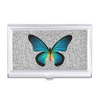 Blue Butterfly Silver Glitter Business Card Holder