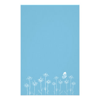 Blue Butterfly Stationery Chamomile Flowers Art