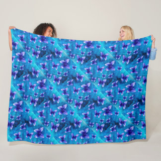 Blue Butterfly Summer. Large Fleece Blanket