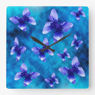 Blue Butterfly Summer, Large Square Wallclock