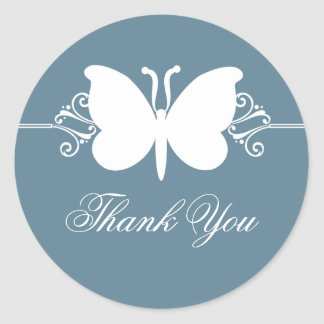 Blue Butterfly Swirls Thank You Stickers