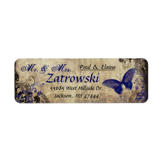 Blue Butterfly Vintage Address Label