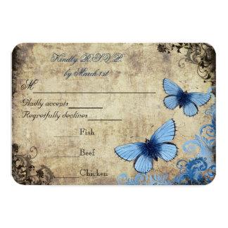 Blue Butterfly Vintage Wedding RSVP 3.5x5 Paper Invitation Card