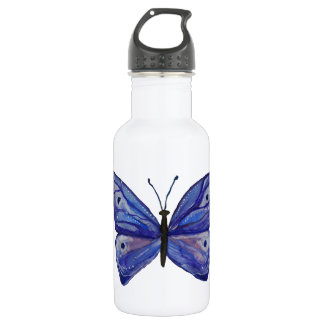Blue Butterfly Watercolor Custom Water Bottle
