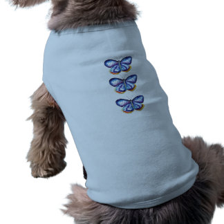 Blue Butterfly Watercolor Doggie Ribbed Tank Top Dog Tshirt