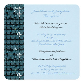 "Blue Butterfly Wedding 5.25"" Square Invitation Card"