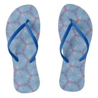 Blue Butterfly Wing Geometric Flip Flops