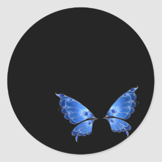 Blue Butterfly Wings Classic Round Sticker