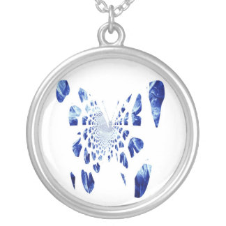 Blue Butterfly Wings Silver Plated Necklace