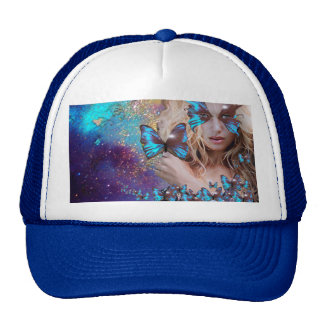 BLUE BUTTERFLY WITH GREEN GOLD SPARKLES TRUCKER HAT