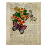 Blue Butterfly with Red Flowers Vintage Art Poster