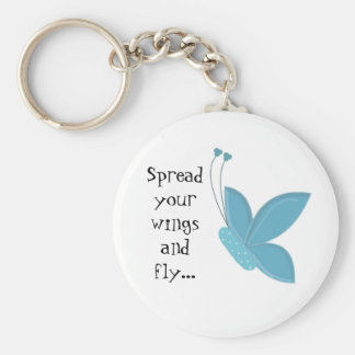 Blue Butterfly with Saying Keychain
