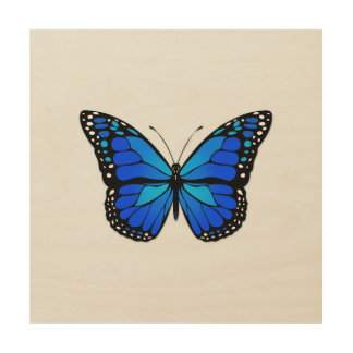 Blue butterfly wood canvas
