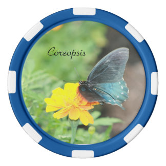 Blue Butterfly Yellow Coreopsis Clay Poker Chip