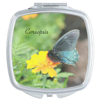 Blue Butterfly Yellow Coreopsis Compact Mirror