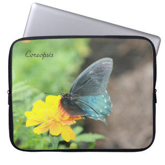Blue Butterfly Yellow Coreopsis Laptop Sleeve