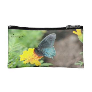 Blue Butterfly Yellow Coreopsis Small Cosmetic Bag