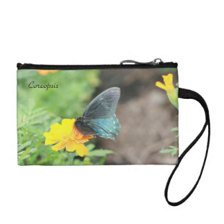 Blue Butterfly Yellow Coreopsis Summer Coin Clutch Change Purses