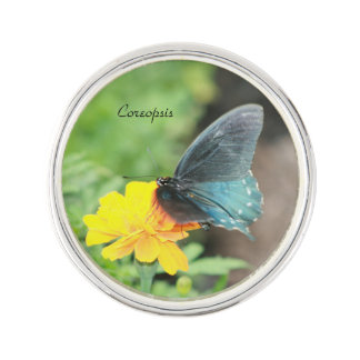 Blue Butterfly Yellow Coreopsis Summer Lapel Pin