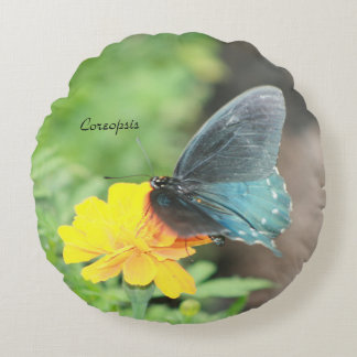 Blue Butterfly Yellow Coreopsis Summer Pillow