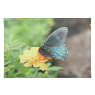 Blue Butterfly Yellow Coreopsis Summer Products Placemat