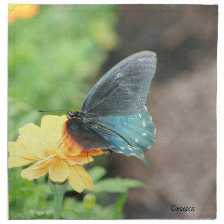 Blue Butterfly Yellow Coreopsis Summer Products Printed Napkins