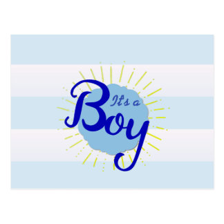 Blue Cabana Striped Baby Announcement Postcard