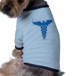 Blue Caduceus Medical Symbol Pet Tshirt