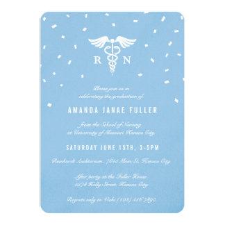 Blue Caduceus Nurse Graduation Invitations