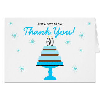 Blue Cake 60th Birthday Thank You Note Card