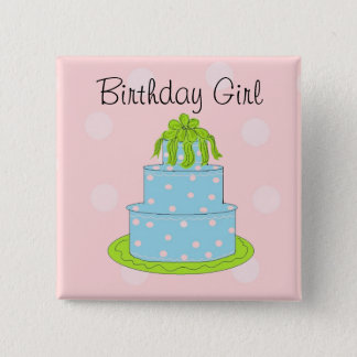 Blue Cake - Birthday Girl 2 Inch Square Button