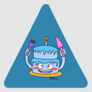 blue cake of birthday triangle sticker