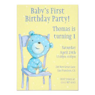 Blue Calico Bear Birthday Card
