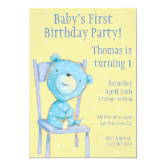 "Blue Calico Bear Birthday 5"" X 7"" Invitation Card"