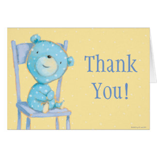 Blue Calico Bear Smiling on Chair Card