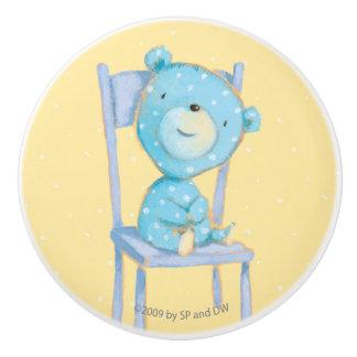 Blue Calico Bear Smiling on Chair Ceramic Knob