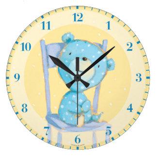 Blue Calico Bear Smiling on Chair Clocks