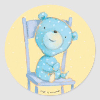 Blue Calico Bear Smiling on Chair Round Sticker