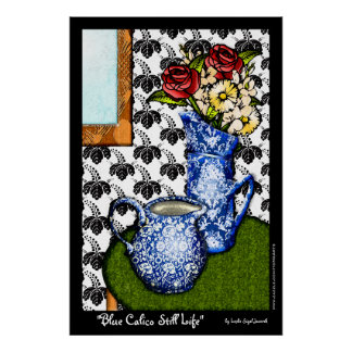 Blue Calico Still Life (Fine Art Poster) Poster