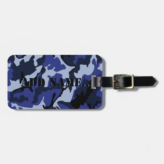 Blue Camo Add Name, Luggage Tag With Leather Strap