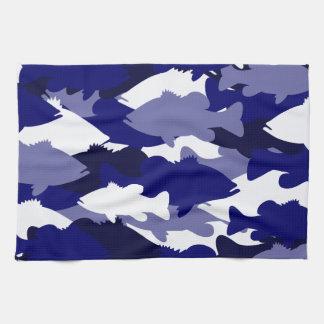 Blue Camo Bass Fishing Kitchen Towel