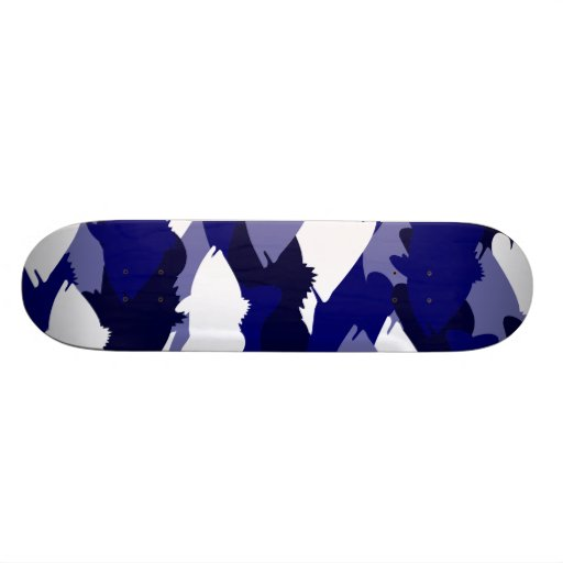 Blue Camo Bass Fishing Skateboard