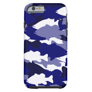 Blue Camo Bass Fishing Tough iPhone 6 Case