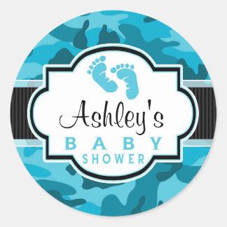 Blue Camo, Camouflage Baby Shower Round Sticker