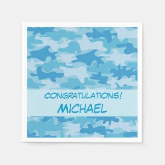 Blue Camo Camouflage Congratulations Name Custom Paper Napkin