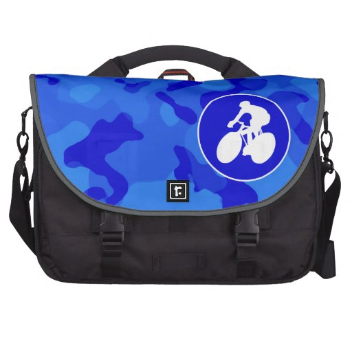 Blue Camo; Camouflage Cycling Laptop Bag