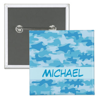 Blue Camo Camouflage Name Badge Custom 2 Inch Square Button
